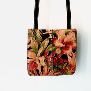 Patricia Nash Floral Tropical Leather Crossbody